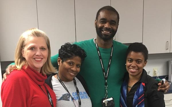 GSP steward Gayle Fesperman, Local 3645 VP Donielle Prophete, Exec VP Darryle Williams, and GSP steward Cherrie Sims ready for action in Greenville-Spartanburg.